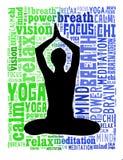 Acciones de la yoga en nube de la palabra Imágenes de archivo libres de regalías