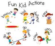 Acciones del niño de la diversión ilustración del vector