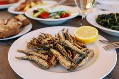 Acciughe fresche fritte nella locanda greca fotografie stock libere da diritti
