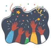 Acclamazioni! Gruppo di persone incoraggiare illustrazione vettoriale