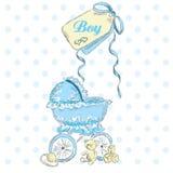 Accogliere la nascita di un ragazzo Cartolina dei bambini Gli elementi dei bambini wheelchair Cartolina dell'annata Fotografia Stock Libera da Diritti