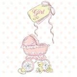 Accogliere la nascita di una ragazza Cartolina dei bambini Gli elementi dei bambini wheelchair Cartolina dell'annata Immagine Stock Libera da Diritti