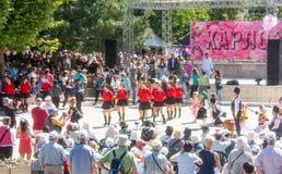 Accogliere la regina al festival delle rose in Bulgaria Fotografie Stock