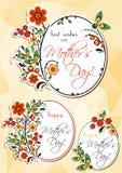 Accogliere le etichette di ovale con l'ornamento floreale di Hohloma Fotografia Stock Libera da Diritti