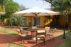 Accommodation. Patio of a namibian guesthouse in bright sunshine royalty free stock photos