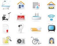 Accommodation amenities icon set Stock Illustration