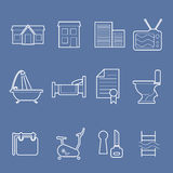 Accommodation amenities icons Royalty Free Stock Image