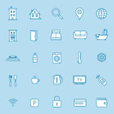 Accommodation booking icon set Royalty Free Stock Photo