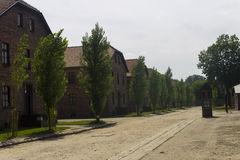 Accommodation buildings in Auschwitz I camp. Outdoors of the biggest extermination camp in Europe built by Nazi - Auschwitz Stock Photo