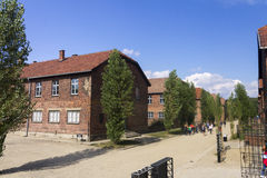 Accommodation buildings in Auschwitz I camp. Outdoors of the biggest extermination camp Europe built by Nazi - Auschwitz Royalty Free Stock Photo