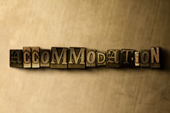 ACCOMMODATION - close-up of grungy vintage typeset word on metal backdrop Stock Images
