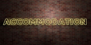 ACCOMMODATION - fluorescent Neon tube Sign on brickwork - Front view - 3D rendered royalty free stock picture Royalty Free Stock Images
