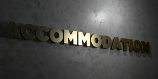 Accommodation - Gold text on black background - 3D rendered royalty free stock picture Stock Photography