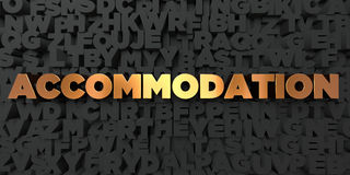 Accommodation - Gold text on black background - 3D rendered royalty free stock picture Royalty Free Stock Photography