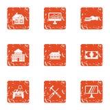 Accommodation icons set, grunge style. Accommodation icons set. Grunge set of 9 accommodation vector icons for web isolated on white background Stock Images