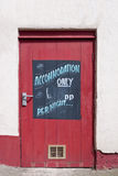 Accommodation Only. Sign on a Red Door Royalty Free Stock Photography