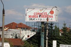 Accomodation, outdoor banner. Resort Conacul Maria Theresa accommodation in Sibiu, Romania. Outdoor banner stock images