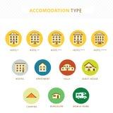 Accomodations. Accomodation icon set for travel agency Stock Image