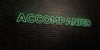 ACCOMPANIED -Realistic Neon Sign on Brick Wall background - 3D rendered royalty free stock image Royalty Free Stock Images