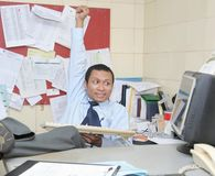 Accomplish. Happy with his accomplish in office stock image
