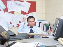 Accomplish. Happy with his accomplish in office stock photos