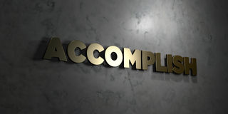 Accomplish - Gold text on black background - 3D rendered royalty free stock picture. This image can be used for an online website banner ad or a print postcard Royalty Free Stock Image