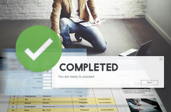 Accomplished Achieved Approve Completed Concept stock images