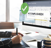 Accomplished Achieved Approve Completed Concept. Accomplished notification on computer screen royalty free stock image