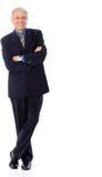Accomplished businessman. Image of senior businessman smiling, isolated on white royalty free stock image