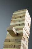 Accomplishment. And team building concept using tower of wooden blocks Royalty Free Stock Images