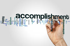 Accomplishment word cloud concept on grey background.  Royalty Free Stock Photos
