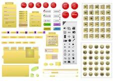 Accomplissez l'ensemble d'élément jaune de conception de site Web illustration stock