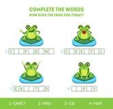 Accomplissez les mots, comment la grenouille se sent aujourd'hui, jeu d'assortiment avec le caractère animal amphibie mignon, jeu illustration de vecteur