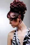Acconciatura creativa della femmina di modo Fotografie Stock Libere da Diritti