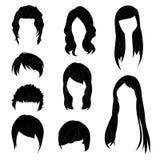 Acconciatura della raccolta per l'insieme di colore dei capelli neri della donna e dell'uomo 1 Illustrazione di vettore Immagini Stock