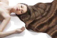 Acconciatura della ragazza di bellezza e molti capelli Fotografie Stock