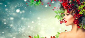Acconciatura di Natale Trucco di festa Fotografie Stock
