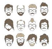 Acconciature delle illustrazioni con una barba ed i baffi Immagine Stock Libera da Diritti