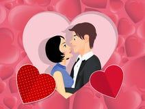 Accoppi degli amanti nel cuore royalty illustrazione gratis