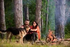 Accoppi il cane da pastore tedesco del picchiettio vicino al falò, fondo della natura fotografia stock