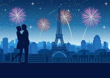 Accoppi insieme l'abbraccio vicino alla cima del tetto della torre intorno con il grattacielo vicino alla torre Eiffel a Parigi,  illustrazione di stock