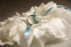 Accoppiamenti degli anelli di cerimonia nuziale dell'oro Immagine Stock Libera da Diritti