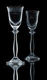 Accoppiamenti dei bicchieri di vino vuoti Immagine Stock