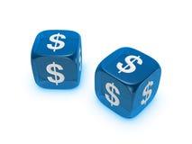Accoppiamenti dei dadi blu traslucidi con il segno del dollaro Immagini Stock Libere da Diritti
