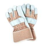 Accoppiamenti dei guanti del lavoro isolati su bianco Fotografie Stock
