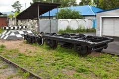 Accoppiamenti della rotella l'automobile ferroviaria Fotografie Stock