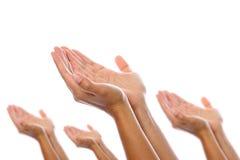 Accoppiamenti delle mani disposte insieme Fotografia Stock
