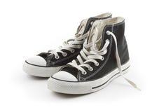 Accoppiamenti delle scarpe da tennis della tela di canapa isolate Immagine Stock