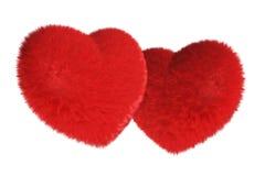 Accoppiamenti di cuore rosso simile a pelliccia Fotografie Stock