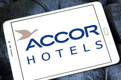 Accor hotels logo. Logo of hotels chain accor on samsung tablet Royalty Free Stock Photo